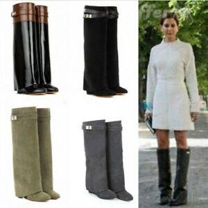 42 Womens Chic Wedge Heel Leather Fold Over Knee High Boot Fold Over Boot Shoes
