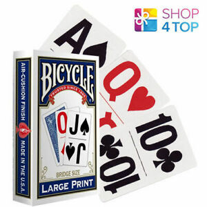 BICYCLE-LARGE-PRINT-BLAU-SPIELKARTEN-BRUCKE-GROSSE-MAGISCHE-TRICKS-NEU-VERPACKT
