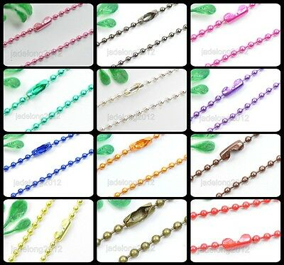 Wholesale Lots 12Strand Ball Metal 2.4mm Beads Chains Necklace Findings 12 Color