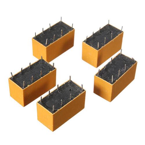 5 Pcs DC12V SHG Coil DPDT 8 Pin 2NO 2NC Mini Power Relays PCB Type Yellow AD