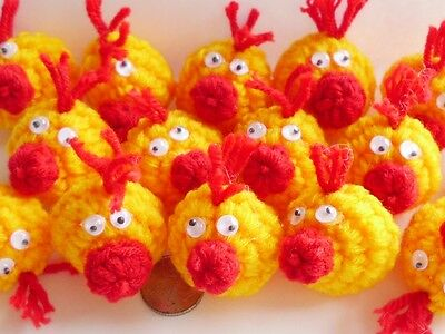 10! XXL Fun Crochet Chicks - Embellishments For Easter Crafts - 30mm/1.25""