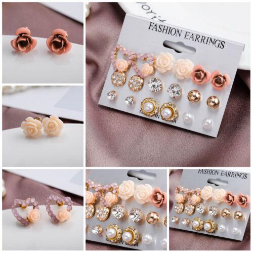 9 Paire Alliage Simple Femmes Strass Fleur de perle oreille Stud Set Boucles D/'oreilles Bijoux