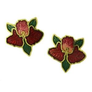 Red-Cloisonne-Orchid-Pierced-Earring