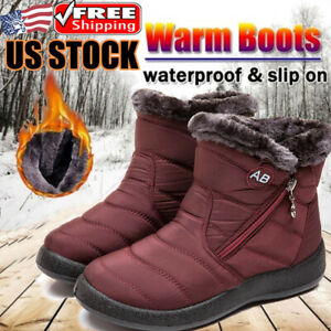 Women-039-s-Snow-Ankle-Boots-Winter-Fur-Lined-Warm-Waterproof-Outdoor-Ski-Shoes-Size