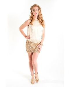 Image Is Loading 1920 039 S Fler Gold Dress Sequin Skirt