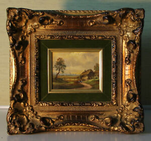 Small Oil Paintings 9x11 Munich School Landscape Signed