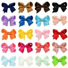20pcs Baby Kids Girls Grosgrain Ribbon Bow Hair Clip Hairpin Alligator Clips Fg