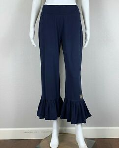 MATILDA-JANE-Women-039-s-Big-Ruffle-Pant-Navy-Blue-Cotton-Spandex-Medium-NTSF