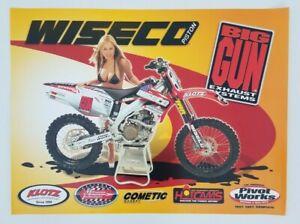 Wisco Piston Big Gun Exhaust Systems Poster Honda Motocross Supercross CR Girl
