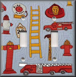 Light Switch Plate Cover Firefighter Rescue Truck Boys