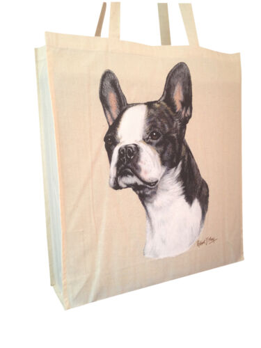 Boston Terrier Cotton Shopping Tote Bag with Gusset & Long Handles Perfect Gift
