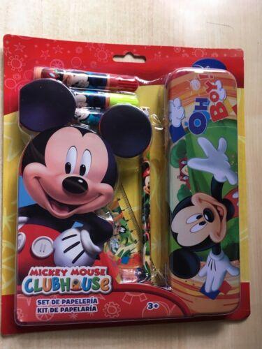Nouveau Disney Mickey Mouse 6 pièces Papeterie Set crayon TIN règle crayon 3 marqueurs