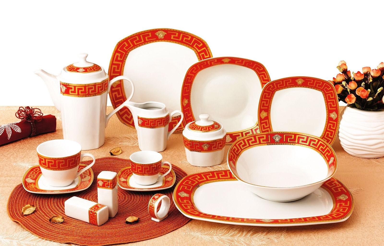 57 tlg Porzellan Porzellan Porzellan Tafelservice Medusa Maeander Dinner Set ROT --VERSA-- 8f2514