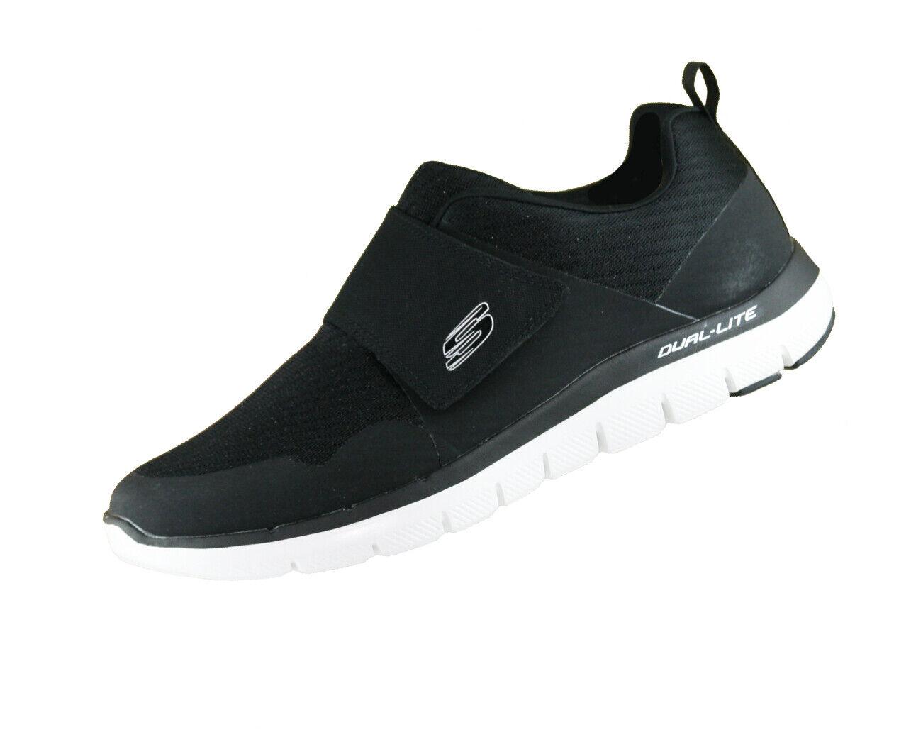 Skechers Flex advantage 52183 negro bkw memory foam velcro calcetines cortos nuevo