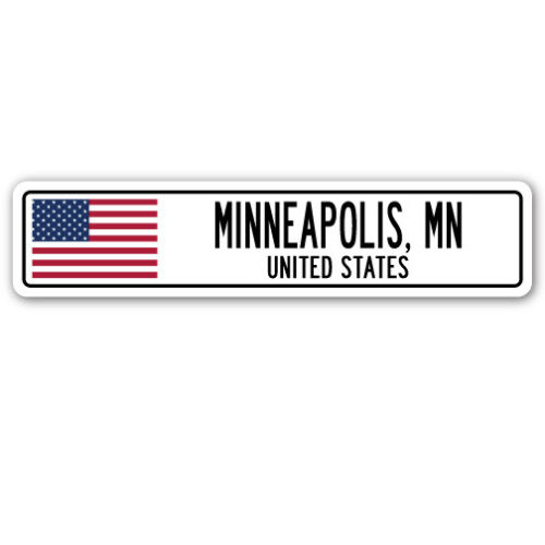 MN UNITED STATES Aluminum Street Sign American flag city country g MINNEAPOLIS