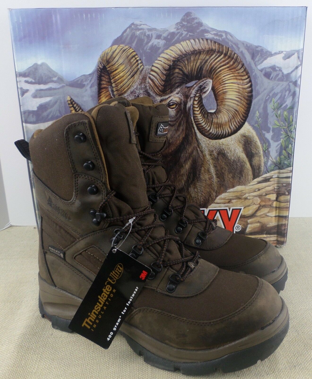 ROCKY 4763 ERGOTUFF MEN'S BROWN LEATHER INSULATED BOOTS SIZE 9.5M NEW IN BOX
