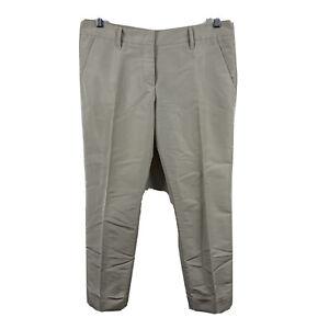 Prada-Womens-Pants-Size-42-AU-12-Beige-Pleated-Capri-Made-In-Italy-Silk-Blend