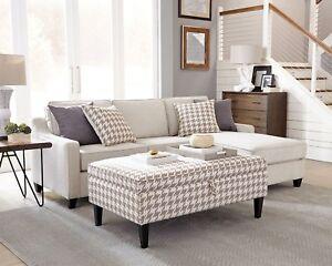Wondrous Details About Compact Cream Chevron Dobby Storage Sectional Ottoman Living Room Furniture Uwap Interior Chair Design Uwaporg
