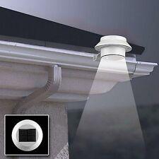 Outdoor 3 LED Solar Powered Wall Mount Fence Garden Gutter Roof Yard Light Lamp
