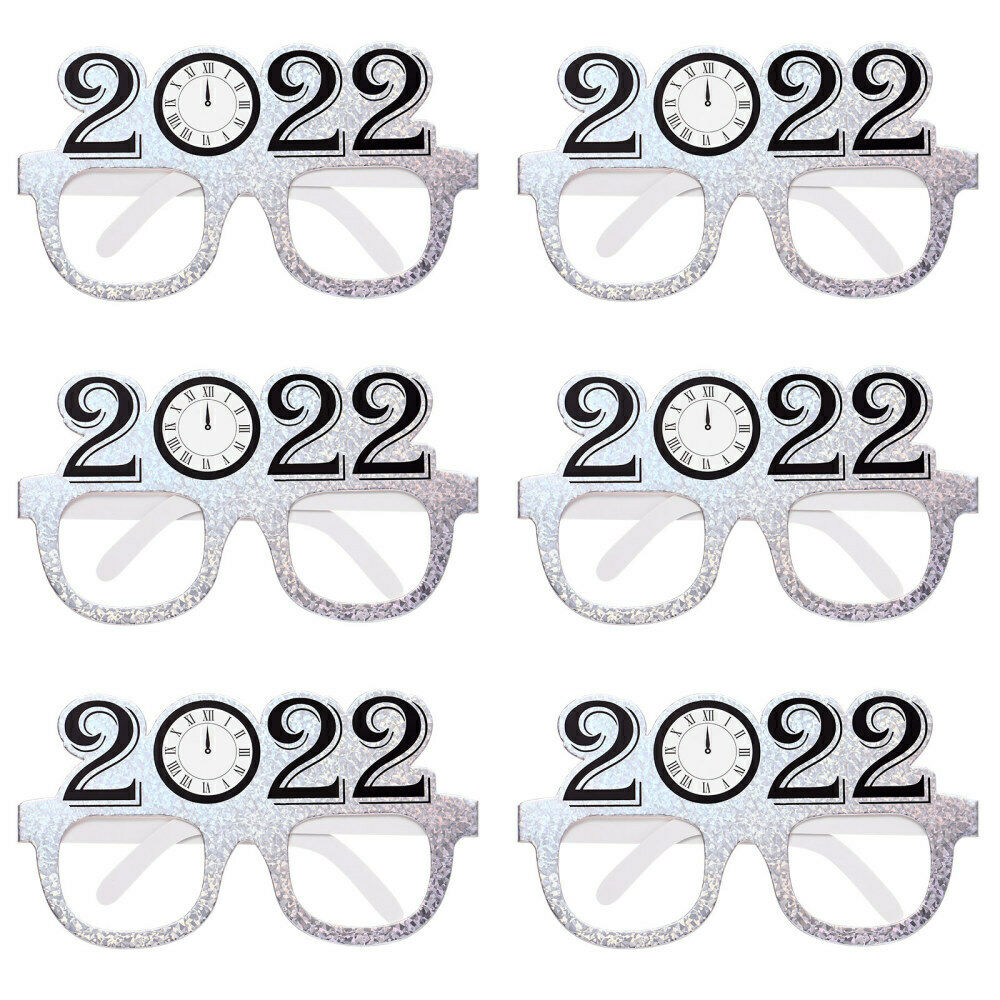 6pcs Chic 2022 New Year Glasses Glasses Frames for Party New Year