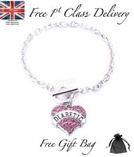 High Quality Pink Diabetic Alert Heart Charm Bracelet Medical Mothers Day UK