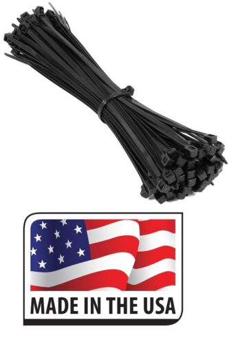 "2000 8/"" LONG BLACK 50 LB UV RESIST HEAVY DUTY CABLE ZIP TIE WRAP MADE IN USA"