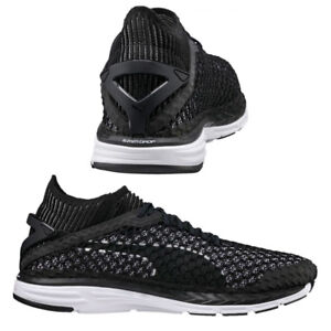 Puma Speed Ignite NetFit Lace Up Mens Trainers Black White 189937 05 ... 68c446a388