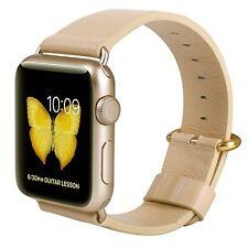 JSGJMY Apple Watch Band for 38mm Beige Genuine Leather Strap Gold Modern Buckle