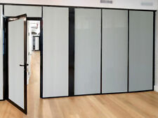 Cgp Office Partitions Frosted Glass Aluminum Wall 15x9 Withdoor Black Color