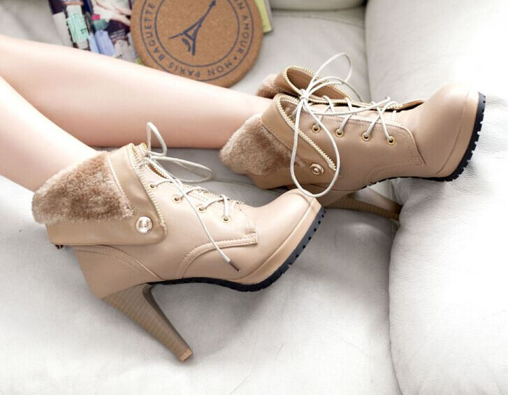botas invierno beige cómodo zapatos de mujer talón 10 beige invierno como piel 8791 2c7d0f