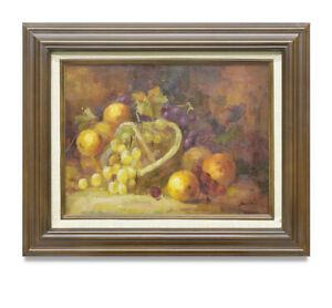 NY-Art-Impressionist-Fruit-Still-Life-12x16-Original-Oil-Painting-with-Frame