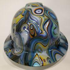 Pyramex Ridgeline Wide Brim Hard Hat Hydro Dipped In Blue Amoebas Water Swirl