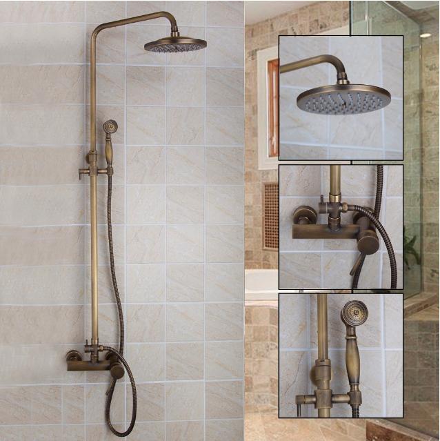 "Antique Brass Shower Faucet Set Tap Handheld Shower Rain 8/""OverHead Wall Mounted"