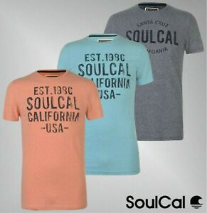 Mens-SoulCal-Short-Sleeves-Printed-Textured-Flecked-T-Shirt-Sizes-from-S-to-XXL