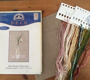DMC-Deco-Pink-Flowers-Cross-Stitch-Kit-12-x-6-Linen-Threads-Beads-Instructions