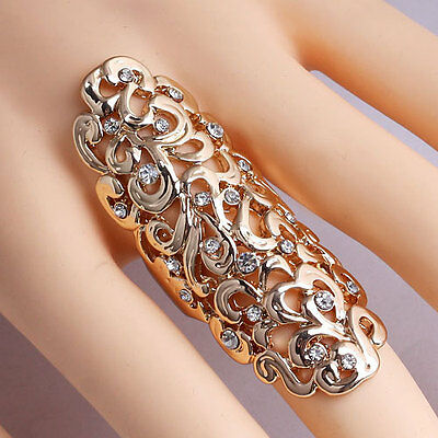 Fashion Charms Rhinestone Full Finger Armor Joint Knuckle Hollow Out Ring Gift