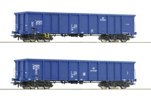 Piste h0 DC ROCO 76044 2 Pièces Set ouvert wagons des PKP Cargo