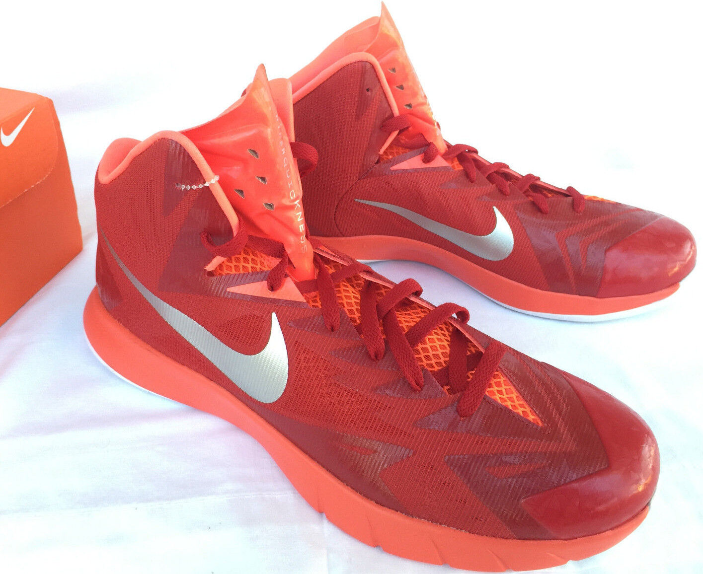 Nike Lunar Hyperquickness Shoes TB 652775-606 Red Basketball Shoes Hyperquickness Men's 14 NCAA new 0aacad
