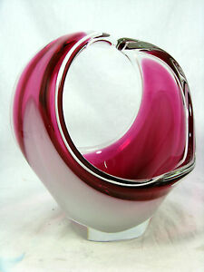 Rare-50-s-Paul-Kedelv-design-Flygsfors-034-Coquille-034-glass-bowl-Schale-Sweden-20cm
