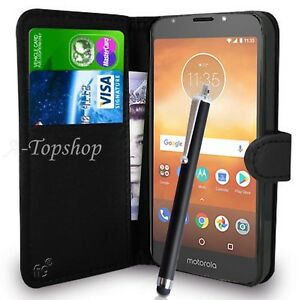 Black-Wallet-Case-PU-Leather-Book-Cover-For-Motorola-Moto-E5-Play-Mobile-Phone