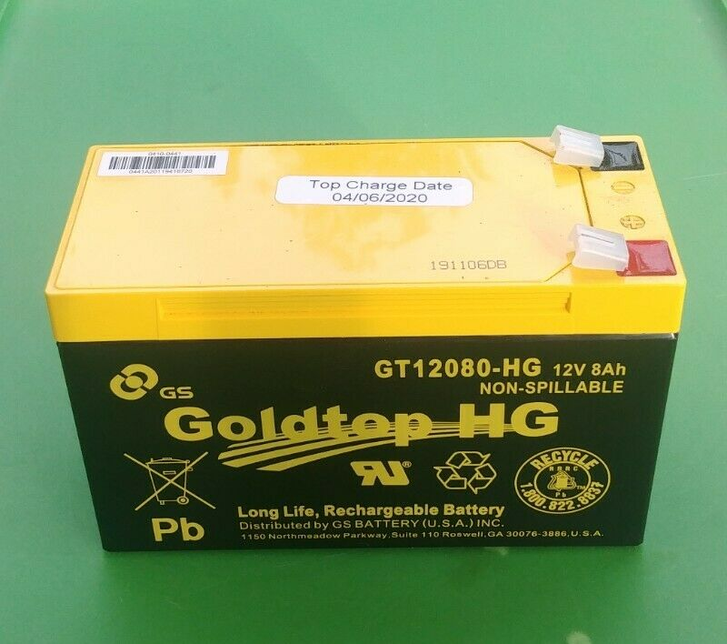 (NEW) Goldtop GT12080HG 12V8AH Long Life Rechargeable (Top Charge Date: 04/06/20