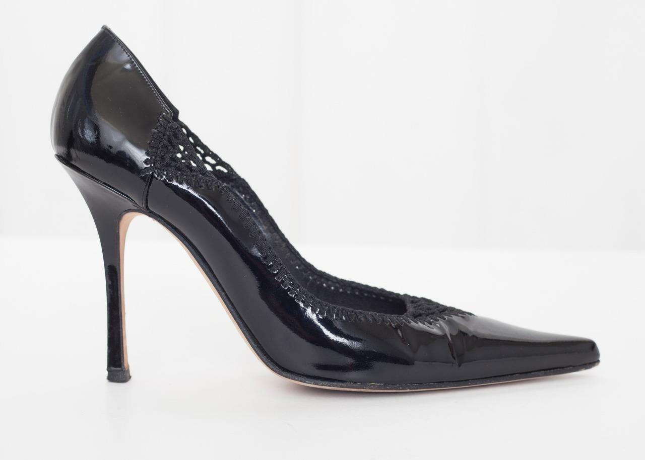 BRIAN ATWOOD  605 Womens Black Patent Leather Pointy-Toe High Heel Pump 8-38