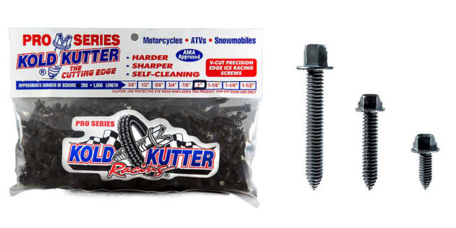 """50 pc-3//8/"""" Kold Kutter Racing Track Tire Ice Studs Screws Motorcycle Snowmobile"""