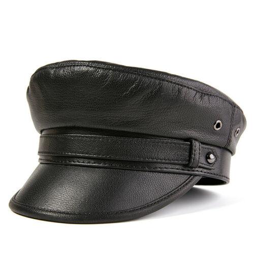 Women Men Sheepskin Genuine Leather Hat Beret Cap Casual Retro Newsboy Army Cap