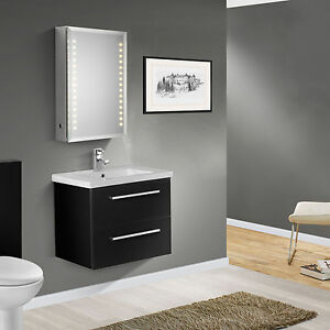 600mm wall hung high black gloss finish bathroom cabinet vanity unit