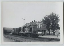 1967 Amqui Quebec Railway Railroad  Station vintage photo Two Car Fast Frieght