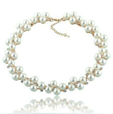 Wedding Bridal Cream White Pearls Cluster & Rhinestones Choker Necklace N215