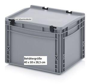 Stapelkisten Mit Deckel 40x30x28 5 Cm Stapelbar Kunststoff