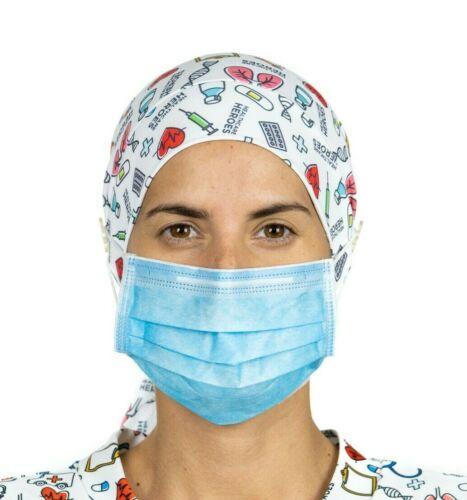 Ponytail Scrub Cap with buttons Nurse cap Surgical Cap Doctor Print Healthcare