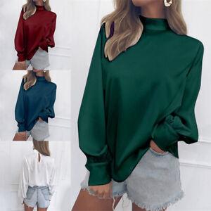 Simple-Women-Chiffon-Shirt-Blouse-Long-Sleeve-Tops-High-Neck-Solid-Casual-S-2XL